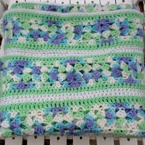 Granny Chic Green Purple and White Blanket